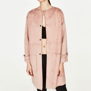 ZARA Basic Outerwear FAUX SUEDE Dusty Pink Coat